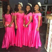 2021 Fashionable African Off Shoulder Satin Mermaid Bridesmaid Dresses Long Wedding Party Evening Gowns Lace Formal Occasion Evening Wear