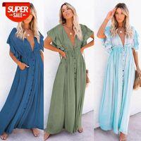 midi dresses Slub Cloth Button Drawstring Long Skirt Sunscreen Beach Blouse 7 Colors #xC3I