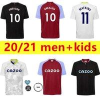 2021 Aston Villa Soccer Jerseys Home Away Hourihane Wesley McGinn Samatta Davis Trezeguet Disquewater Shirt de football Hommes + Kids Kit + Costume adulte