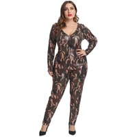 Women's Jumpsuits & Rompers Sexy V-neck Tights Sequined Glitter Jumpsuit Winter Overalls Printed Plus Size Bodysuit Costume One Piece Romper