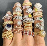 18k real cor ouro preservando anel super flash gemstone micro-embutido zircon homens anéis zircônio exagerado lote misto