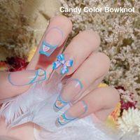 Nail Art Decorations 10 Net Celebrity Three-dimensional Aurora Ribbon Magic Bow Decoration Color Resin Mocha N2R6
