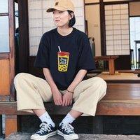 2021 Japão super fogo humano feito líquido vermelho Mamário de leite de pérola impresso t-shirt de manga curta para homens a 5hd1