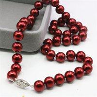 Collana gioielli di moda 8/10 / 12mm rosso shell artificiale imitazione perla perle rotonde perline corda catena donna regalo di vacanze 18 pollici Y931 catene