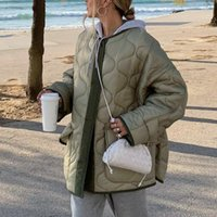 Women's Suits & Blazers Women Autumn Winter Style Cotton Coat Commuter Solid Color Down Jacket Button Pocket Loose Thick Cardigan Streetwear