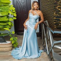 Party Dresses Baby Blue Satin Mermaid Prom DressesSweetheart Beads Sequins Black Girls Evening Dress Simple Gowns Side Strain