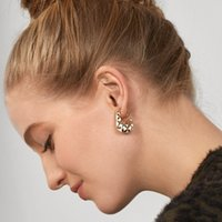 Stud Jewelry fashion creative gold diamond pattern Earrings exquisite alloy oil dripping process women