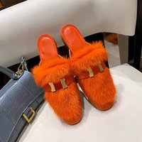 2021 Top Top Mink Zapatos de cabello Desiner Invierno Deslizadores de peluche interior HOTEL INTERIOR Sandalias de zorro cálido para mujeres Diapositivas Calidad con caja Tamaño 35-40