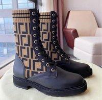 Brown FF Zucca de malha meia estilo flats tornozelo botas Rockoko logotipo-jacquard Stretch-Knit e Botas de combate de couro para mulheres Luxury Designer Sapatos Fábrica Calçado