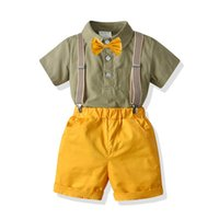 Boys Clothing Sets Kids Suits Children Clothes Wear Summer Cotton Short Sleeve bow tie Shirts Suspenders Shorts Pants 2Pcs Birthday Outfits B7282