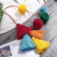 Pompom Keychain Multi-layer Tassel Handbag Hanging Accessory Bag Charm Ladies Ethnic Style Jewelry Pendant