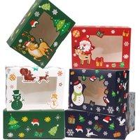 Karton Przenośny Boże Narodzenie Pudełko Party Posiadacze Candy Cookie Pudełka z Snowman Santa Claus Gifts Card