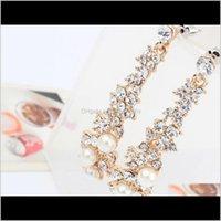 Charm Jewelry Drop Consegna 2021 European American Boutique Signore Orecchini perla per perle Donne lunghe orecchini dorati 10PRS Diamond Stud PS2883 PTF76