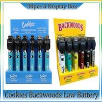 Cookie Backwoods Law Twist Предварительно нагрева VV Батарея 900mAh Нижнее напряжение Регулируемое USB Зарядное устройство Vape Pen 30 шт. С дисплейной коробкой Завод Оптом Высочайшее качество