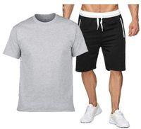 Plus Taille S-2XL Summer Tracksuit Hommes 100% coton T-shirt Ensembles Sports Sportswear à manches courtes 2 pièces Homme occasionnel Jogger Sweat