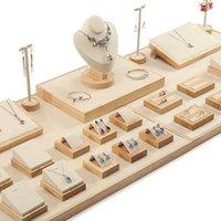 Schmuckanzeige Requisiten Halskette Schmuck Holz Show Support Ring Armband Anhänger Jade Show Support Display Fach 210713