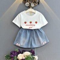 Kids Clothing Sets Girls Outfits Baby Clothes Children Wear Summer Suit Cotton Short Sleeve T-shirts Denim Shorts Pants 2Pcs B7063