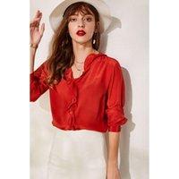 Women's Blouses & Shirts Ruffles V-neck Natural Silk Blouse 100% Mulberry Long Sleeve Loose Women Basic Top Autumn M L XL