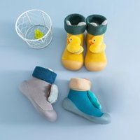 First Walkers Winter Kids Warm Snow Shoes Socks Infant Boys Brushed Thick Sock Yellow Black Baby Girls Booties Soft Soles Toddler