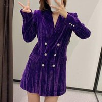 Jane Deiune 2021 New Autunno Inverno Donne Purple Velvet Lunghi Blazer Fashion Moda Doppio Bresetted Gioielli Pulsante Spesso in uscita