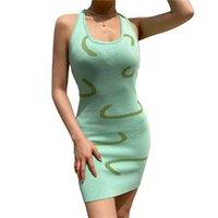 Sommer Frauen Sexy Stricken Halterneck Kleid Damen Sleeveless Gedruckt U-förmiger Hals Enge Casual Slim Mini Bodycon Kleider