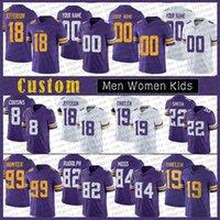 33 Dalvin Cook 18 Justin Jefferson Hommes Femmes Enfants Jersey de Football sur mesure 7 Patrick Peterson 19 Adam Thielen 84 Randy Moss 8 Kirk Cousins MinnesotaVikingsjambon