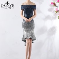 Party Dresses Off Shoulder Short Sequin Blue Prom Dress Navy Mermaid Evening Gown Strapless Neck Formal Fit Stretch Women