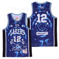Uomini BR Remix Schoolboy Q x # 12 Groovy Basket Blackball Jersey Los Angeles Bleacher Segnala in edizione limitata Team traspirante Colore Blu Sport Top Quality
