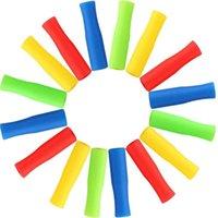 6 cores canudas de aço inoxidável manga silicone 4cm multicolor diâmetro interno 6mm luva de silicone anti colisão de dente HHC7229