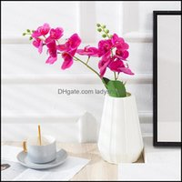 Festive Supplies Garden Decorative Flowers & Wreaths Phalaenopsis 50Cm Butterfly Orcs Real Touch Wedding Flower Floral Bouquet For Diy Home