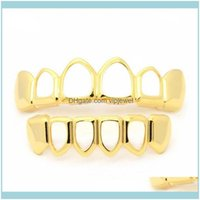 Grillz, Dental Body Jewelrygold Grillz Set High Quality Mens Hip Hop Jewelry Rose Gold Sier Black Hollow Teeth Grills Drop Delivery 2021 Sha