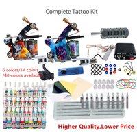 Tattoo kit maskinpistol 6/14/40 färger bläck engångsartiklar mini strömförsörjning set nybörjare tatuering kit kropp konst tillbehör