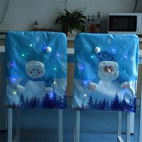 Natal luminosa cadeira iluminada set santa snowman fezes encostar coberturas festivas cadeiras azuis capa decorações