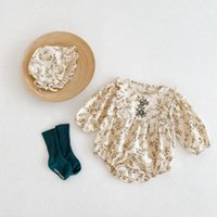 Jumpsuits 0-24M Baby Girl Floral Romper Elegant Toddler Kid Clothes Long Sleeve Flower Print Jumpsuit Cute Sweet Body Suit Born Outfit
