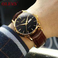 Orologi da uomo Top Brand Luxury Olevs Fashion WristWatches Semplice in pelle Coppia di quarzo Coppia orologio per Maschio Auto Data / Settimana Orologio Uomo Waterpro