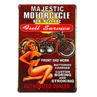 """Metal Tin signs """"Majestic Motorcycle Repair"""" Pin up girl Bedroom Pub Home Decor Craft Wall Painting G103"""