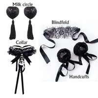 Bondage Four-piece Bundled Restraint Handcuffs Collars Breast Stickers Blindfolds Toys Adult Sex Products Couples Alternative Mood Suit