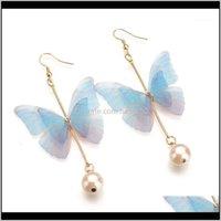 Stud Jewelryfashion Super Fairy Sweet Butterfly Earrings Womens Wedding Prom Valentines Day Gift Jewelry Long Tassel Pearl Wholesale1 Drop D