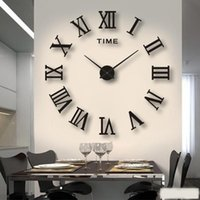 Wall Clocks 3D Large Roman Numeral Acrylic Mirror Clock Sticker Fashion DIY Quartz Watch Home Decoration Living Room Stickers