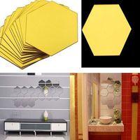 12шт 3D регулярный шестиугольник дома декоративное акриловое зеркало стены наклейки гостиная спальня плакат декор украшения