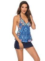 2pcs Bikini Sumin Sexy Beach Sans maillot de bain Bandes de bain Femme V Cou Camis Femmes Floral Imprimé