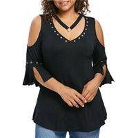 Мода Женщина Рубашка Блузки Сплошная вспышка с коротким рукавом V Вырезы Рубашки Блузки Блузка Туника Плюс Размер Blusas Femininas