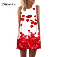 Bhffutter Kırmızı Yaz Elbise Kadın Moda Kısa Kolsuz Casual Şifon Elbise Sundress Bayanlar Zarif Mini Parti Elbiseler 210331