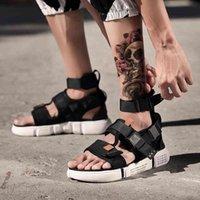أزياء الصيف الرجال الأحذية المصارع الصنادل المفتوحة تو منصة شاطئ الصنادل الأحذية روما نمط أسود رمادي قماش الصنادل إسقاط السفينة CX200616