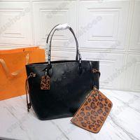 M45686 Leopard MM PM Bolsa de asas Bolso de cuero bolso para mujer bolso de mujer con bolsa de bolsas compuestas bolsas de playa compras embrague salvaje en la cápsula del corazón bolsa de lona