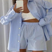 Women's Tracksuits 2021 Loung Wear Tracksuit Women Shorts Set Stripe Long Sleeve Shirt Tops And Loose High Waisted Mini Two Piece