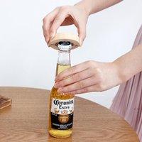Leere DIY Holz Runde Form Magnetische Flamingo Cartoon Gedruckt Flaschenöffner Untersetzer Kühlschrankmagnet Dekoration Bier Flaschenöffner EWA8037