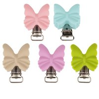 10 pieces of silicone butterfly Pacifier Clip baby safety chain accessories