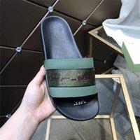 디자이너 럭셔리 21 / SS OFF Mens 여성 다크 그린 글자 리본 슬라이더 여름 해변 신발 샌들 상자