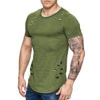 Men's T-Shirts Nice Spring Long T Shirt Men Fashion Hole Design Fitness T-shirt Vogue Short Sleeve Solid Slim Fit Hip Hop Top Plus Size